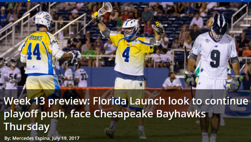 Week 13 Preview: Florida Launch Look to Continue Playoff Push, Face Chesapeake Bayhawks Thursday