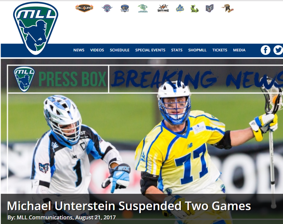 Launch's Mike Unterstein Suspended For 1st 2 Games of 2018 Season