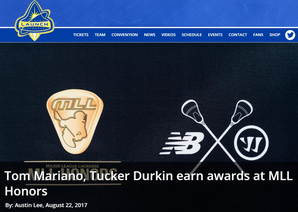 Tom Mariano, Tucker Durkin Earn Awards at MLL Honors