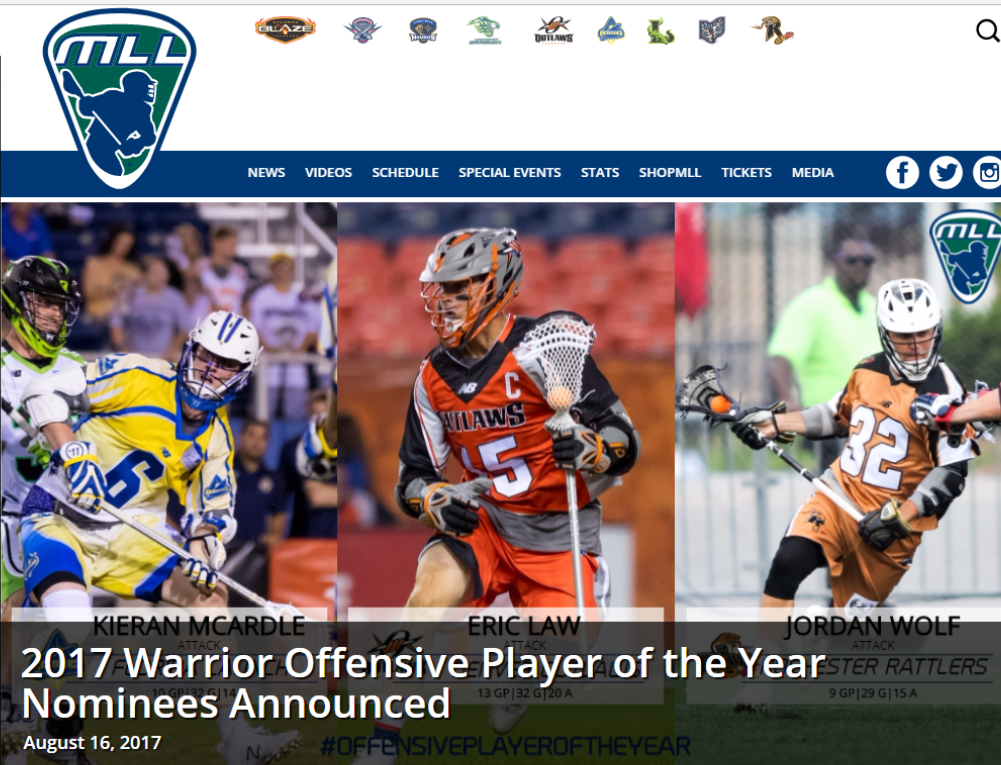 MLL:  2017 Warrior Offensive Player of the Year Nominees Announced – McArdle Nominated!