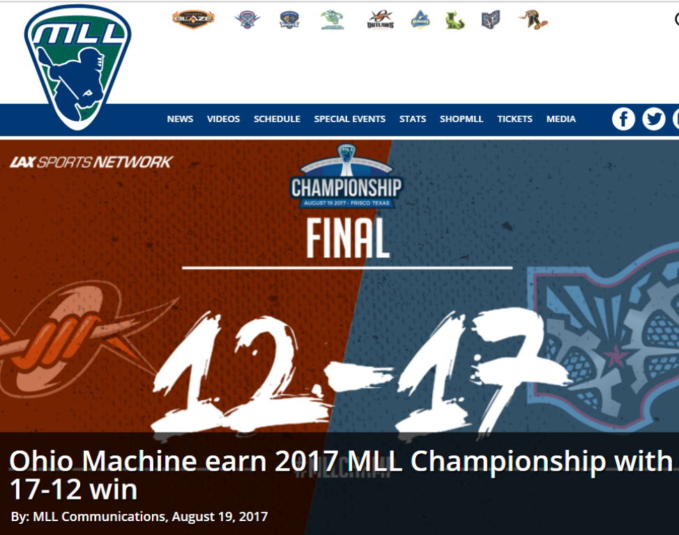 Ohio Machine Earn 2017 MLL Championship With 17-12 Win – With Highlights