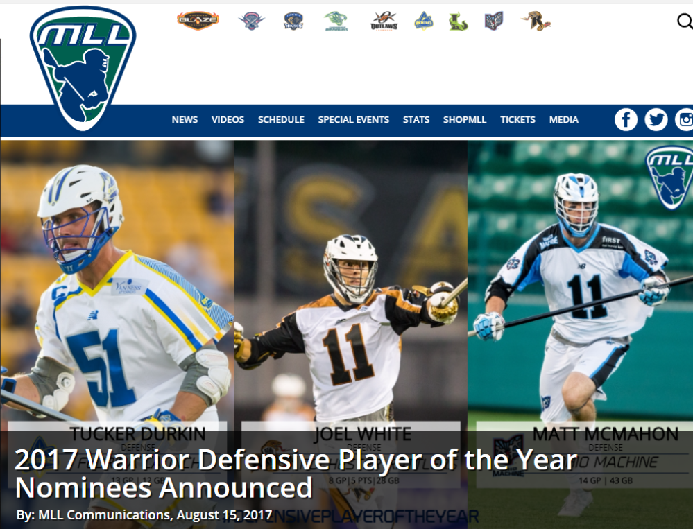 MLL:  2017 Warrior Defensive Player of the Year Nominees Announced – Durkin Nominated!