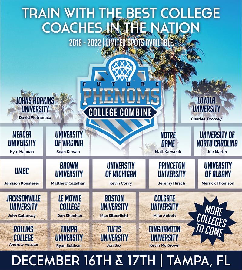 Future Phenom College Combine in Tampa, FL on December 16th and 17th Features Headline Coaches