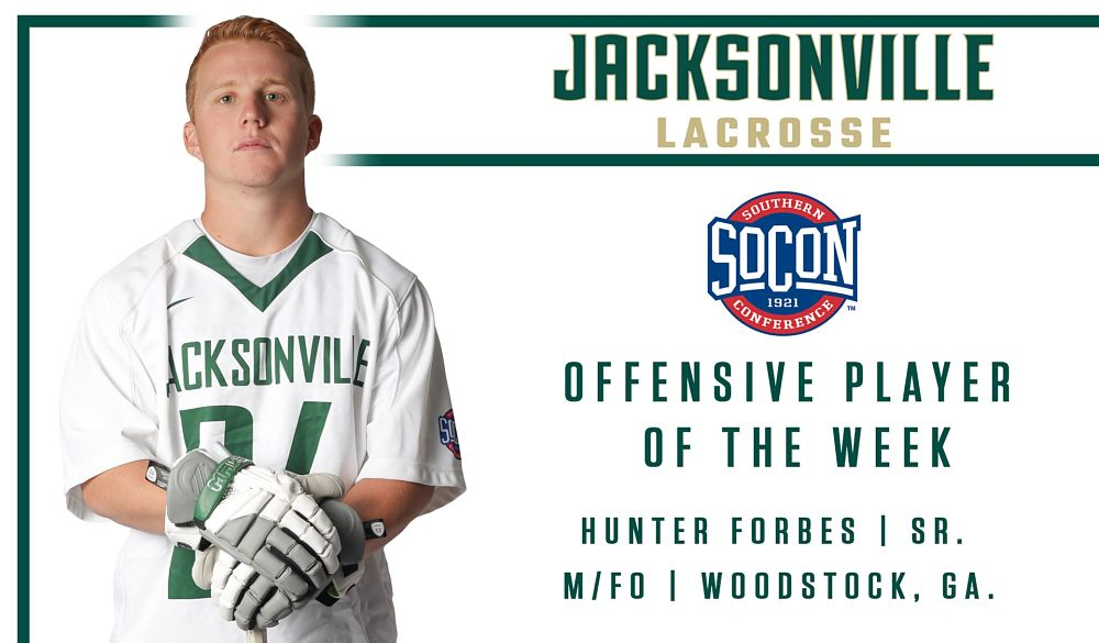 JU Men:  Forbes Earns SoCon Offensive Player of the Week Honors