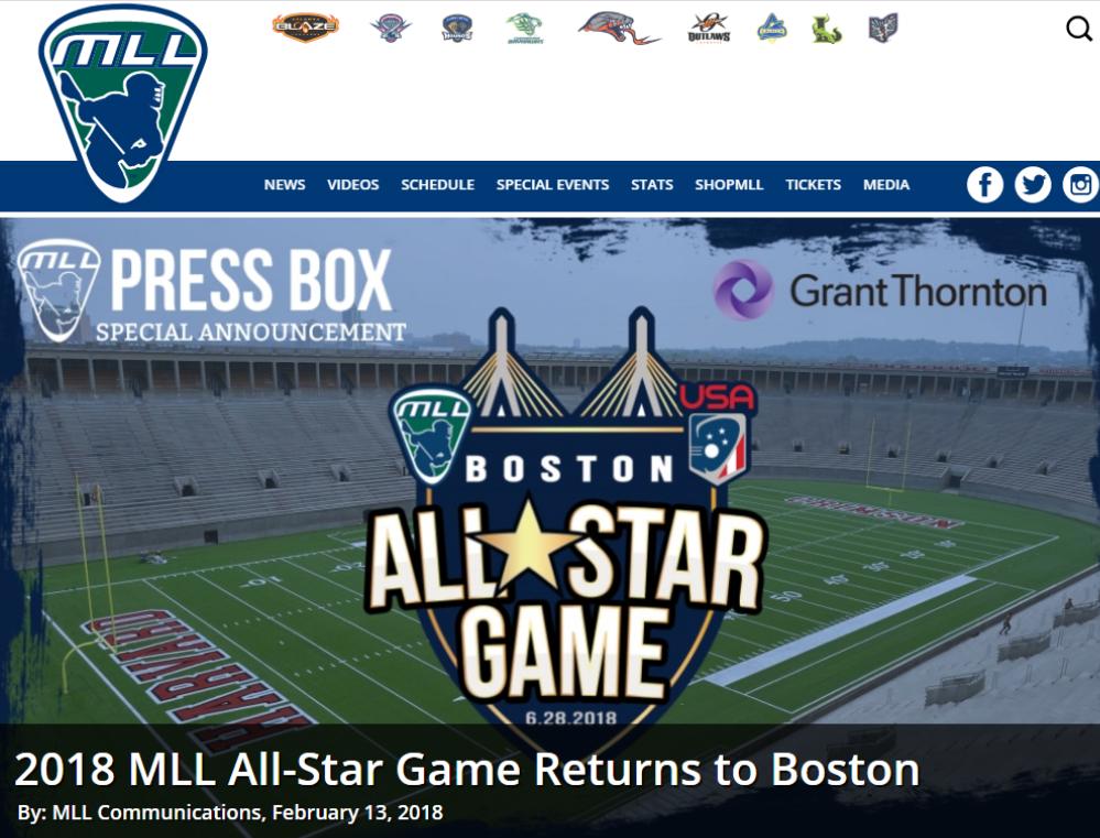 2018 MLL All-Star Game Returns to Boston